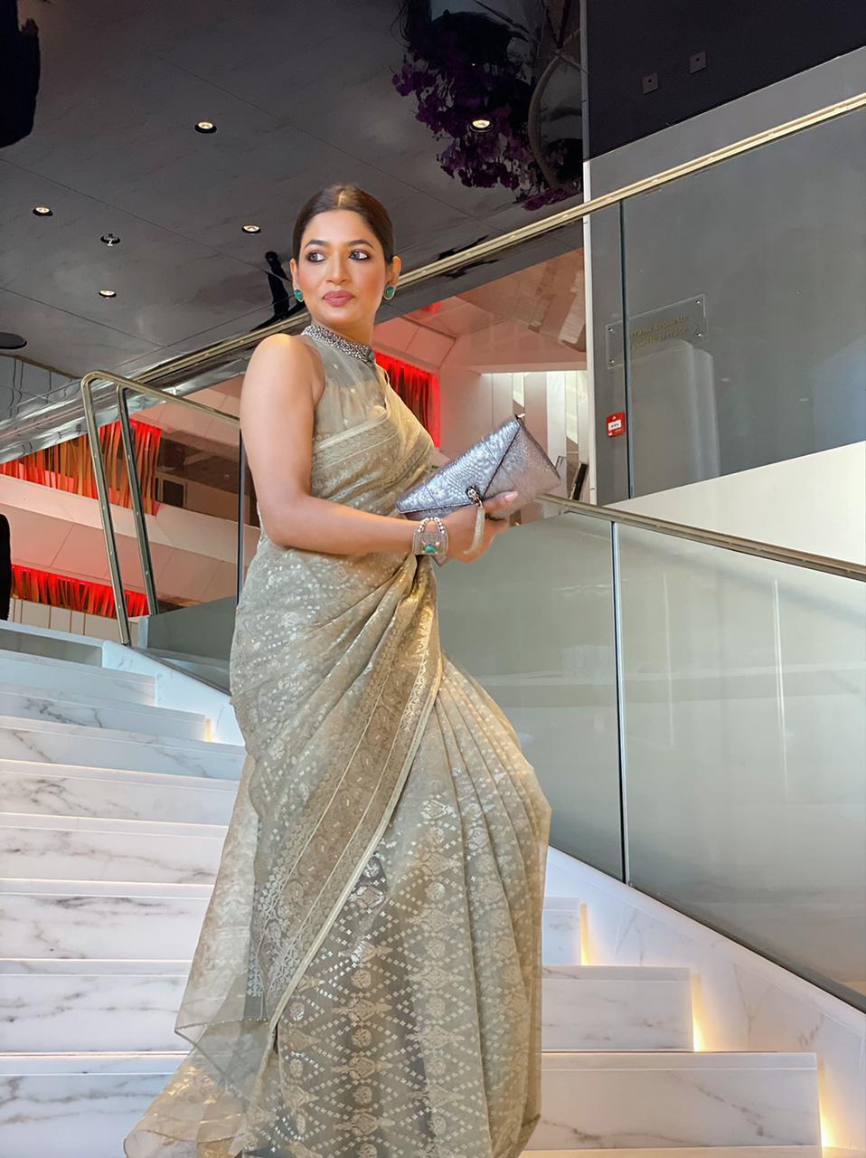 Badhon star of 'Rehana Maryam Noor' wears Aarong jamdani at the 74th Cannes Film Festival